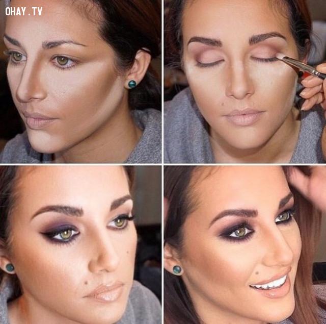 Sử dụng kem che khuyết điểm có màu sắc khác nhau cho các khu vực khác nhau trên gương mặt,mẹo trang điểm,làm đẹp