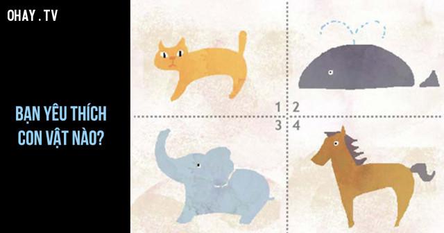 Dựa vào trực giác hãy chọn loài vật mà bạn yêu thích nhất trong các loài vật có trong hình dưới đây: