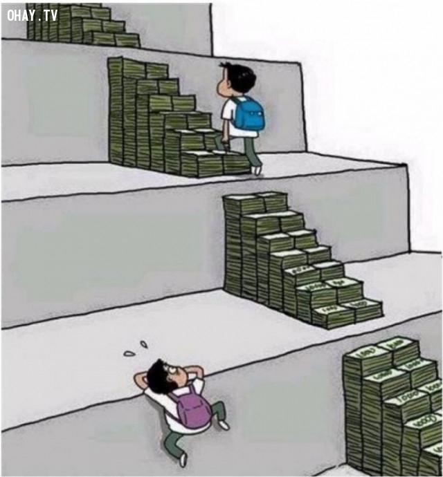 Thực tế, chúng ta không thể phủ nhận rằng những đứa trẻ có điều kiện đều dễ dàng trong con đường học hành và công việc. Tiền bạc đang ảnh hưởng tới chúng ta ngay từ khi chúng ta là những thiên thần.,ảnh biếm họa,ảnh suy ngẫm