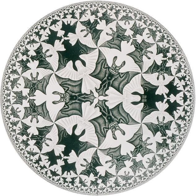"""Tác phẩm """"Angels and Devils"""" - M.C. Echer vẽ hoàn thành năm 1960.  Nếu nhìn vào màu trắng sẽ thấy những thiên thần, nhìn vào màu đen sẽ thấy những con quỷ.,"""