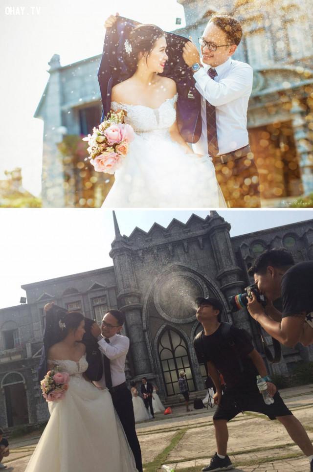 Phía sau một tấm ảnh cưới lãng mạn.,ảnh hậu trường