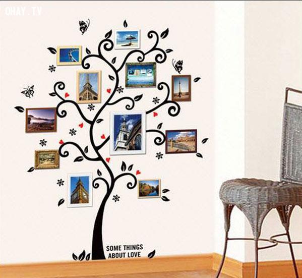 Treo ảnh theo hình cây,trang trí nhà cửa