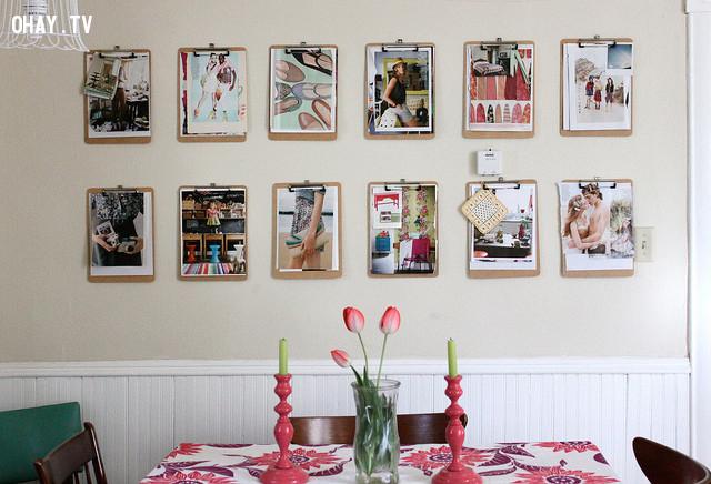 Sử dụng kẹp tài liệu cùng kích cỡ để treo ảnh ,trang trí nhà cửa
