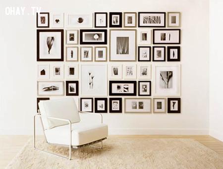 Sử dụng khung và màu tối giản ,trang trí nhà cửa