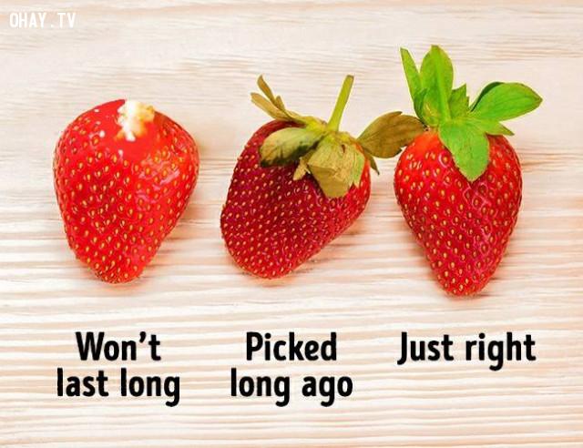 4. Lá ,dâu tây,cách chọn trái cây,mẹo lựa hoa quả