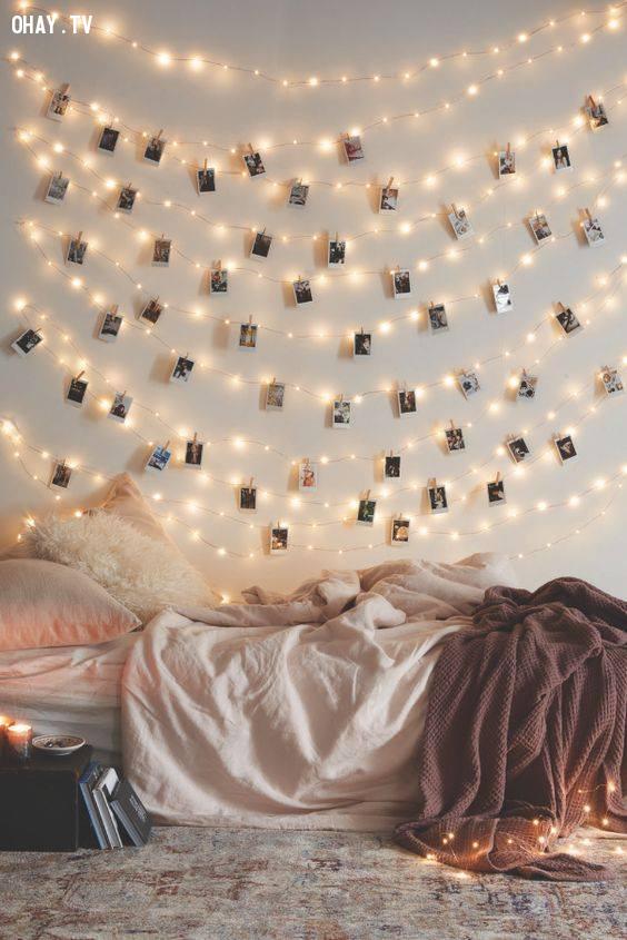3. Chăng dây đơn giản,trang trí phòng ngủ,đèn led