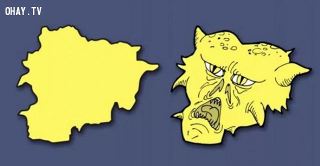 2. Thân vương quốc Andorra - Cái đầu của một con quỷ,bản đồ,châu âu,bí quyết ghi nhớ