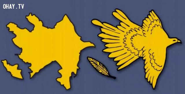 4. Cộng hòa Azerbaijan - Đất nước hình chú chim đang dang rộng đôi cánh,bản đồ,châu âu,bí quyết ghi nhớ