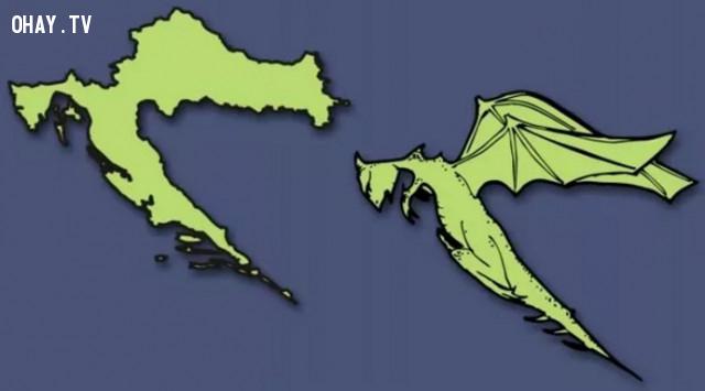 8. Cộng hòa Croatia - Croatia có hình một chú rồng bay,bản đồ,châu âu,bí quyết ghi nhớ
