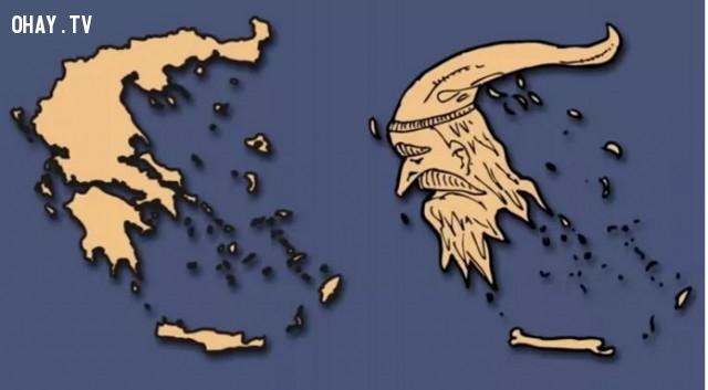 18. Hy Lạp -Giống như một ông lão với bộ râu và chiếc mũ dài,bản đồ,châu âu,bí quyết ghi nhớ