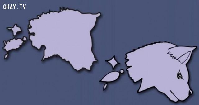 12. Cộng hòa Estonia - Một con sói,bản đồ,châu âu,bí quyết ghi nhớ