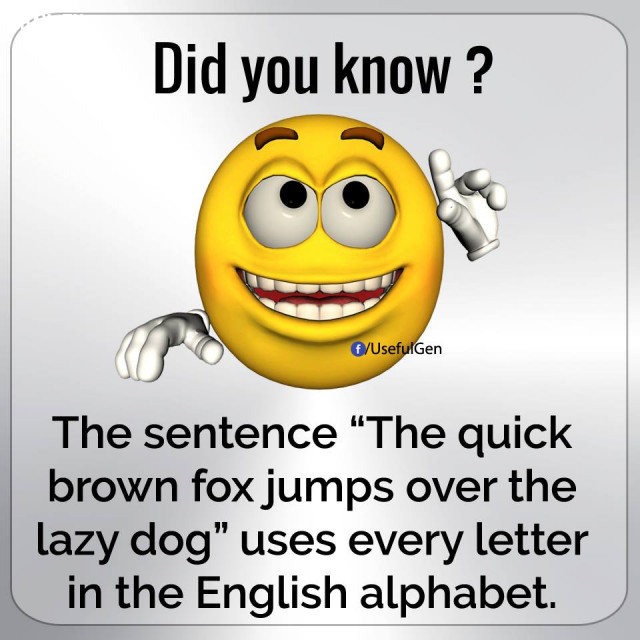"""5. Câu """"The quick brown fox jumps over the lazy dog"""" sử dụng tất cả các chữ cái trong Bảng chữ cái tiếng Anh.,những điều thú vị trong cuộc sống"""