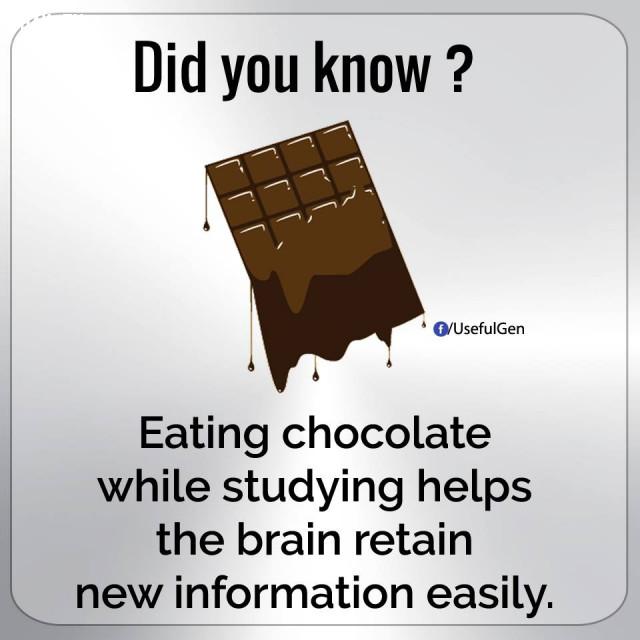 1. Ăn sô cô la trong lúc học bài sẽ giúp bộ não dễ dàng lưu giữ những thông tin mới.,những điều thú vị trong cuộc sống