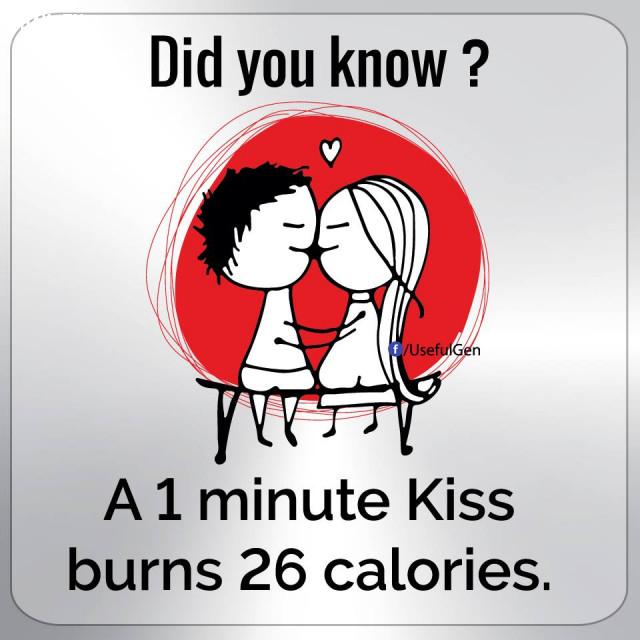4. Hôn 1 phút đốt cháy 26 calo.,những điều thú vị trong cuộc sống