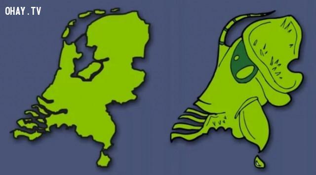 45. Hà Lan - Một người ngoài hành tinh trông giống như côn trùng với cái hàm đáng sợ,bản đồ,châu âu,bí quyết ghi nhớ
