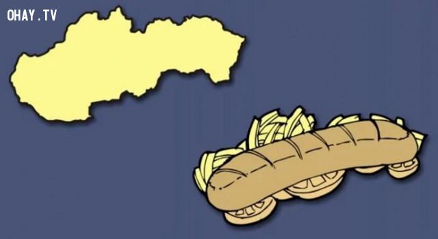 41. Slovakia - Món thịt nướng với khoai tây chiên và cà chua,bản đồ,châu âu,bí quyết ghi nhớ