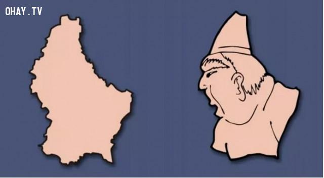 26. Luxembourg - Một người đàn ông béo với khuôn mặt nhìn nghiêng và một chiếc mũ nhỏ,bản đồ,châu âu,bí quyết ghi nhớ