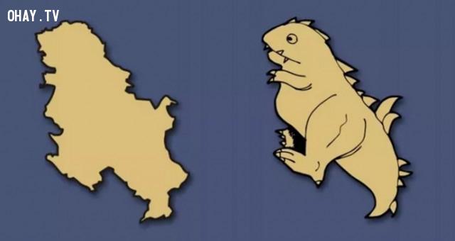 40. Serbia - Một chú khủng long vui nhộn,bản đồ,châu âu,bí quyết ghi nhớ