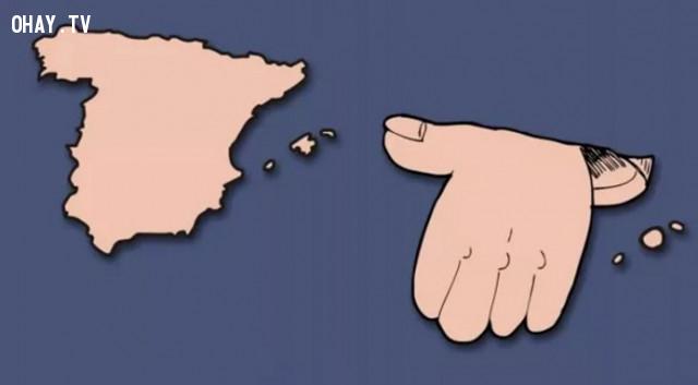 43. Tây Ban Nha - Có hình một bàn tlay đang dơ ngón cái lên,bản đồ,châu âu,bí quyết ghi nhớ
