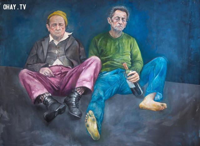 #10 Hai nhà lãnh đạo Pháp François Hollande và Nicolas Sarkozy,người tị nạn,người nhập cư,Abdalla Al Omari