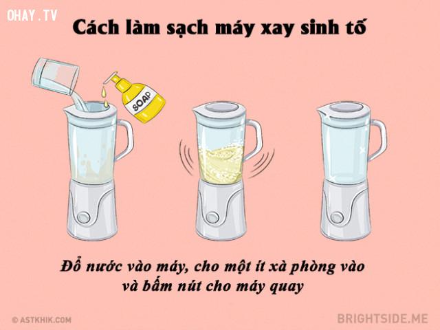 #14. Làm sạch máy xay sinh tố một cách đơn giản,mẹo nhà bếp