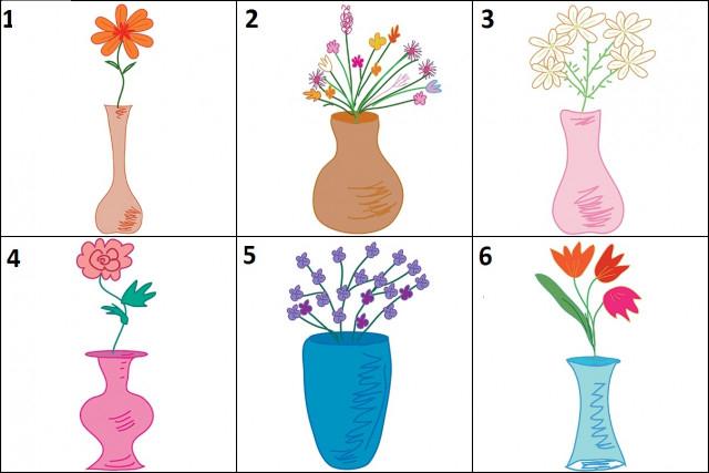 Dưới đây là sáu lọ hoa xinh xắn. Hãy chọn một lọ hoa bạn muốn đặt trong căn phòng của mình nhất.