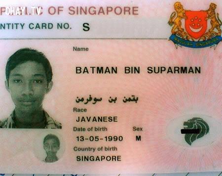 """Gặp anh chàng có tên """"Batman Bin Suparman"""",chứng minh nhân dân,tên chứng minh hài hước"""