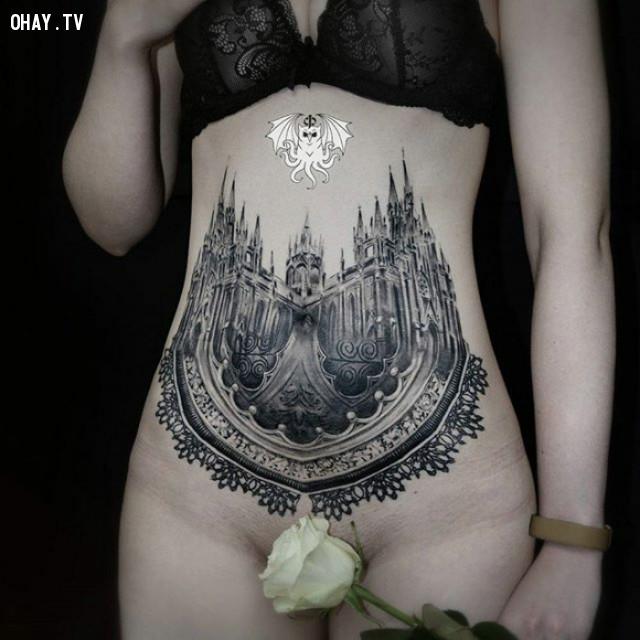 Đích thị là lâu đài hoa hồng trắng rồi,hình xăm hoa văn,hình xăm kiến trúc,hình xăm đẹp