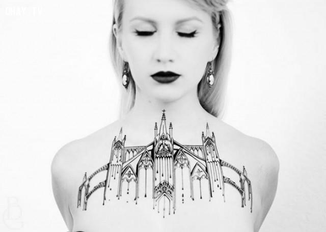 ,hình xăm hoa văn,hình xăm kiến trúc,hình xăm đẹp