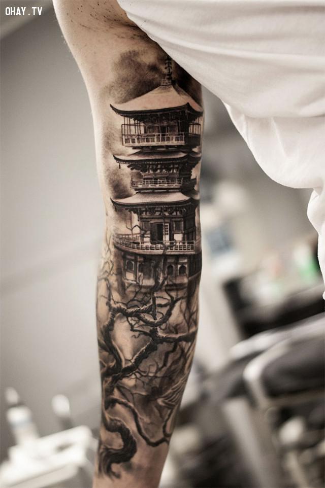 Một đền tháp của Nhật,hình xăm hoa văn,hình xăm kiến trúc,hình xăm đẹp