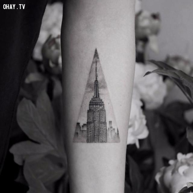 Tháp Empire state,hình xăm hoa văn,hình xăm kiến trúc,hình xăm đẹp