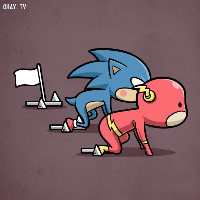 Chạy nhanh - hai tên nhanh nhất hội tiểu quái sonic với flash nên thi với nhau thôi,siêu anh hùng