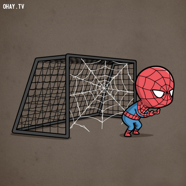 Trông gôn - ông nhện giăng lưới thế kia thì ai đá vào nổi,siêu anh hùng