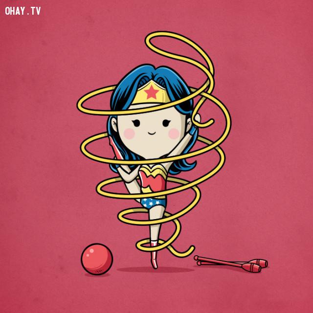 Thể dục nhịp điệu - Wonder Woman,siêu anh hùng