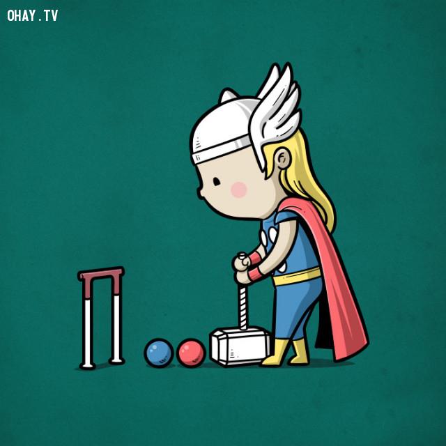 Búa anh Thor rất hợp để chơi môn này,siêu anh hùng