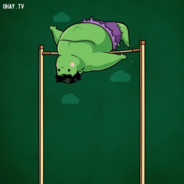 Nhảy cao - Hulk bụng to nhưng nhảy cao lắm nhé, bật vài cái là lên đến tháp Stark luôn,siêu anh hùng