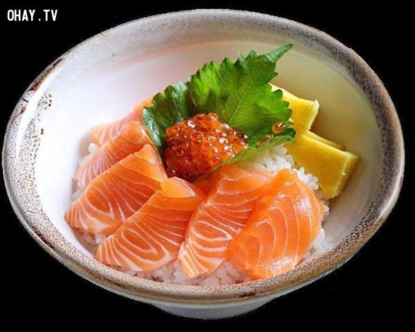 Hokkadon: Cá hồi cắt lát với cơm.,ẩm thực đại chúng,ẩm thực nhật bản,du lịch nhật bản,văn hóa nhật bản