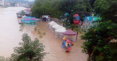 Mưa to gây ngập lớn tại thành phố Hà Giang