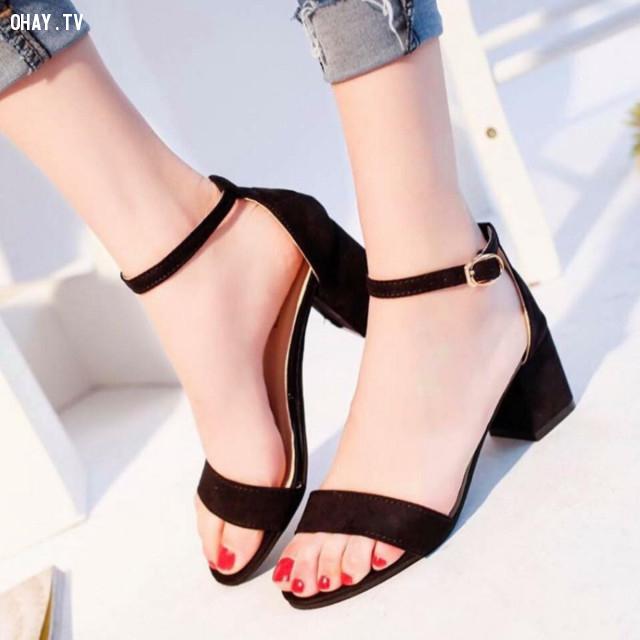 2 - Sandal quai ngang,giày cao gót,giày tăng chiều cao,cô nàng nấm lùn