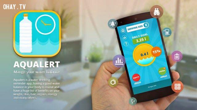 4. Sử dụng app AQUALERT: Uống nước Tracker và Reminder,uống đủ nước,sống khỏe