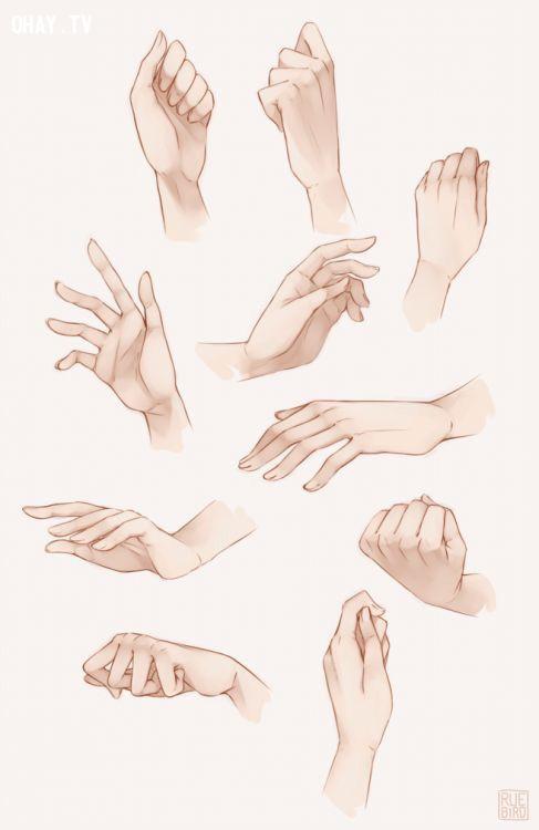 Bước 2: Thể hiện hành động,cách vẽ bàn tay,cách vẽ tay,học vẽ