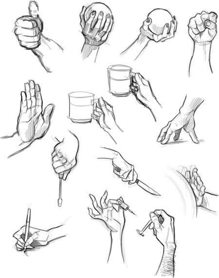 Cuối cùng, thử tham khảo các mẫu vẽ để bắt chước.,cách vẽ bàn tay,cách vẽ tay,học vẽ