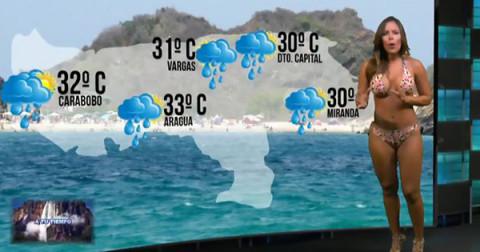 MC dự báo thời tiết mặc bikini lên sóng truyền hình