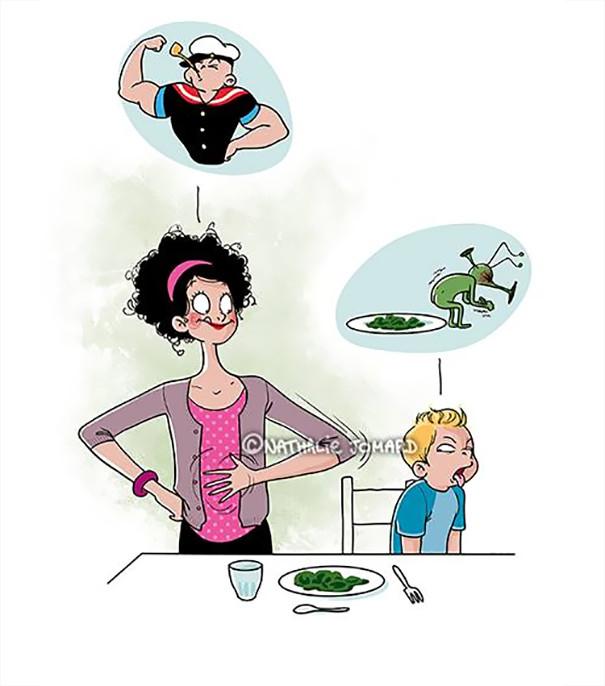18. Để trở thành một tấm gương tốt đối với con trẻ, bạn vô hình buộc bản thân phải ăn bắp cải dù bạn ghét nó vô cùng tận,