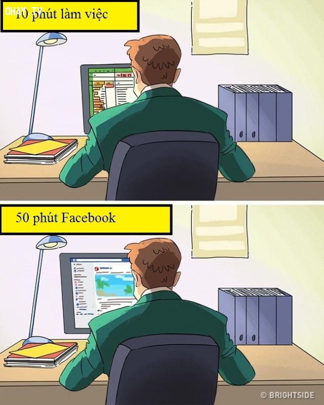5. Facebook giờ đã trở thành 1 người bạn đồng hành không thể thiếu, ngay cả trong giờ làm việc.,dân văn phòng,ảnh minh họa hài hước,cuộc sống văn phòng
