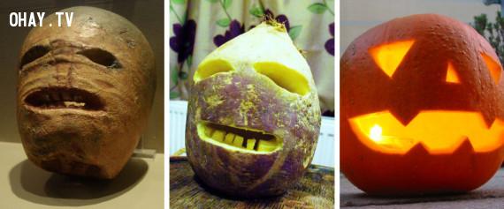 2.Jack-o'-lanterns đã từng được làm từ củ cải, củ cải đường và khoai tây.,
