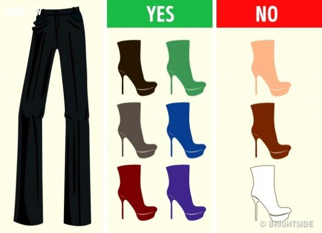 Quần đen,cách phối giày,cách phối đồ,mẹo thời trang