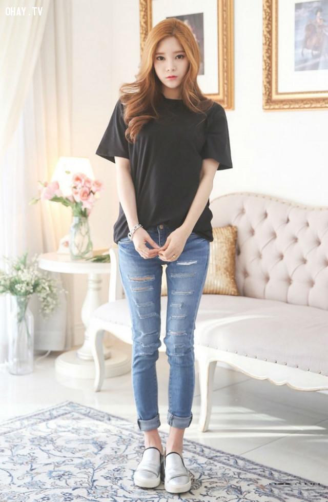 Mix áo với quần Jeans,