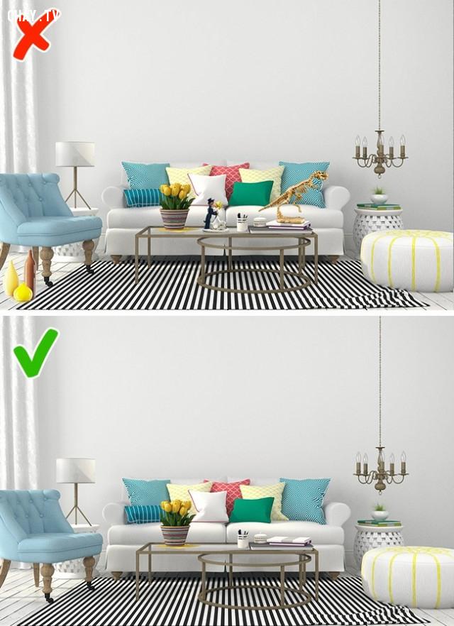 7. Không nên sử dụng quá nhiều đồ trang trí ,lựa chọn nội thất,sắp xếp nội thất,trang trí nhà cửa