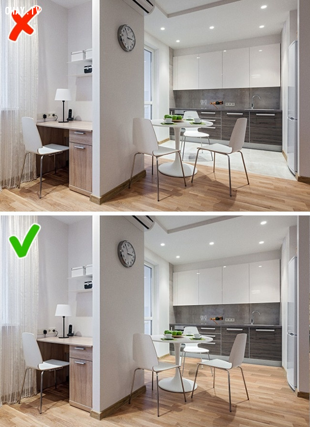 5. Hạn chế phân chia các đường biên dưới sàn,lựa chọn nội thất,sắp xếp nội thất,trang trí nhà cửa